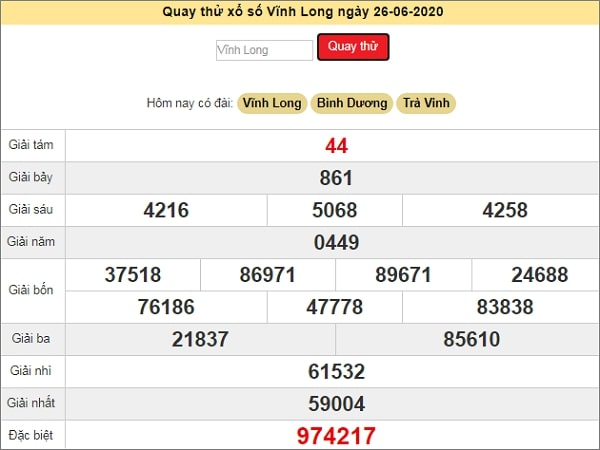 Quay thử kết quả xổ số miền Nam Vĩnh Long ngày 26/6/2020 thứ 6