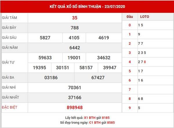 Thống kê Xổ Số Bình Thuận thứ 5 ngày 30-7-2020