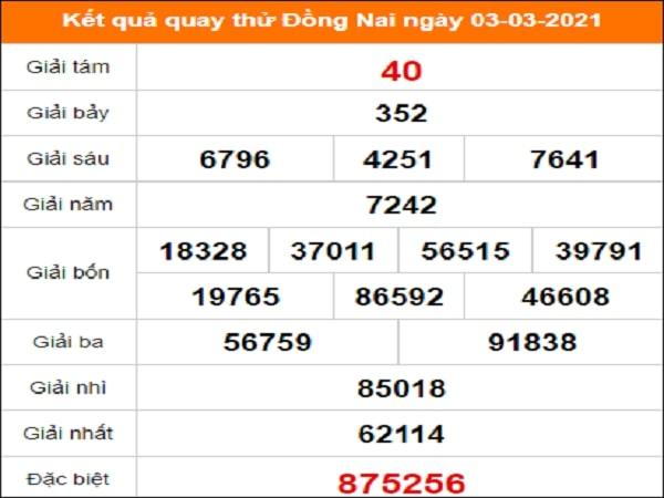 Quay thử kết quả xổ số Đồng Nai 3/3/2021